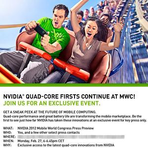 Post Thumbnail of NVIDIA 世界モバイル展示会 MWC2012 にてクアッドコアプロセッサ Tegra 3 搭載スマートフォンを発表の可能性